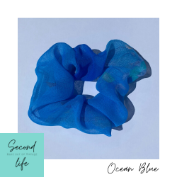 SECOND LIFE Scrunchie Made out of Vintage : Ocean Blue