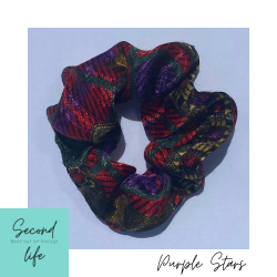 SECOND LIFE Scrunchie Made out of Vintage : Purple Stars