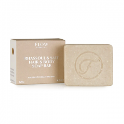 FLOW COSMETICS Rhassoul & Salt Shampoo Soap Bar 120g pour cuir chevelu et peau sensible